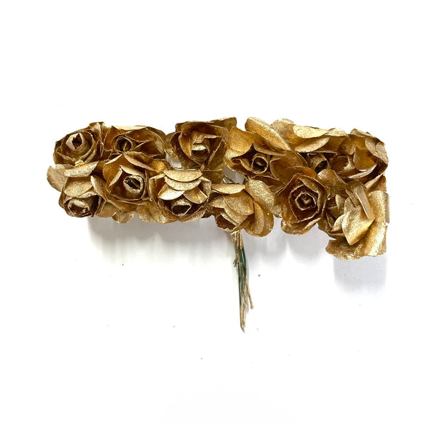 Artificial Rose Flower Pick Style 2 - Metallic Gold