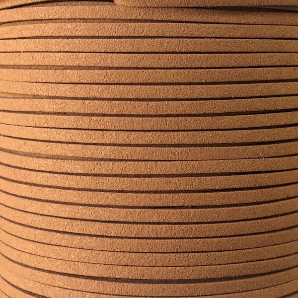 Tan Faux Suede Leather Cord per metre