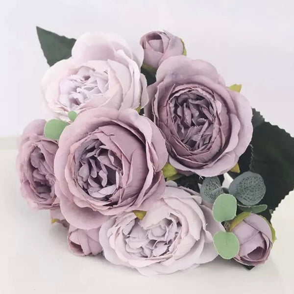 Artificial Silk Peony Blossom Mix Flower Bouquet Bunch - Mauve