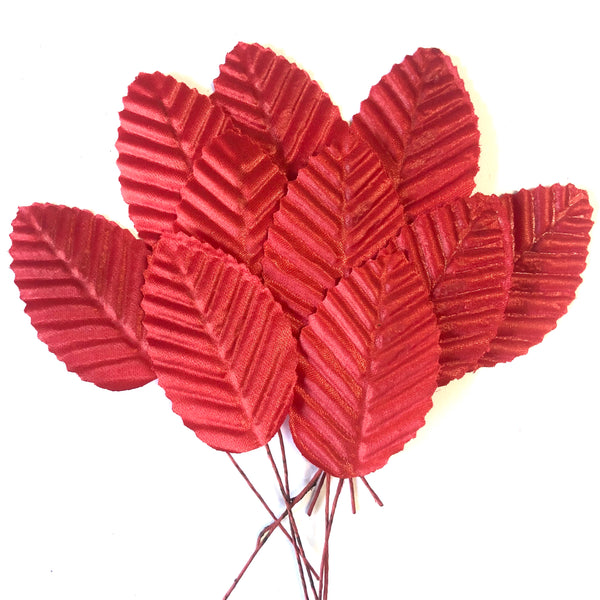 Artificial Satin Wired Leaves - Red