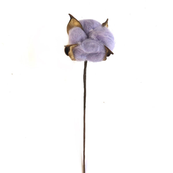 Artificial Natural Dried Cotton Flower Stem - Lilac 60cm Long