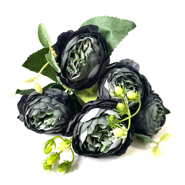 Artificial Silk David Austin Rose Mix Flower Bouquet Bunch - Black