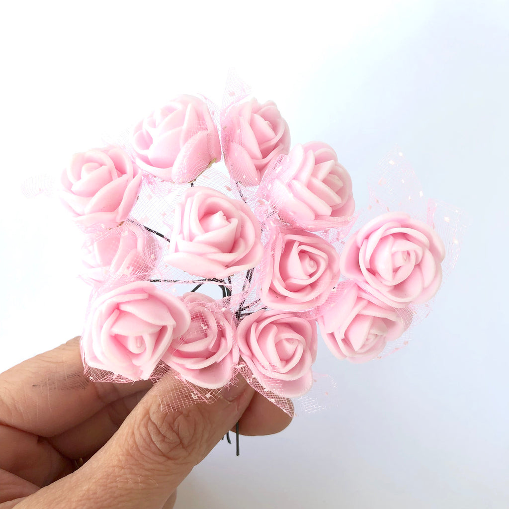 Artificial Foam & Tulle Flower Pick Style 3 - Pink