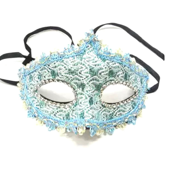 Women Lace Masque Sexy Elegant Masquerade Party Eye Mask  - Blue ((Style 3))