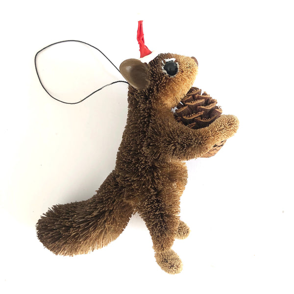 Christmas Tree Ornament Decoration - Brown Standing Squirrel with Santa Hat