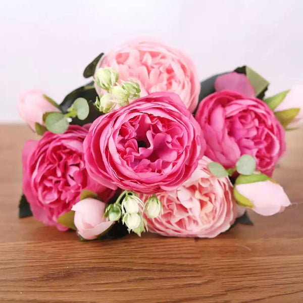 Artificial Silk David Austin Rose Mix Flower Bouquet Bunch - Pink / Hot Pink