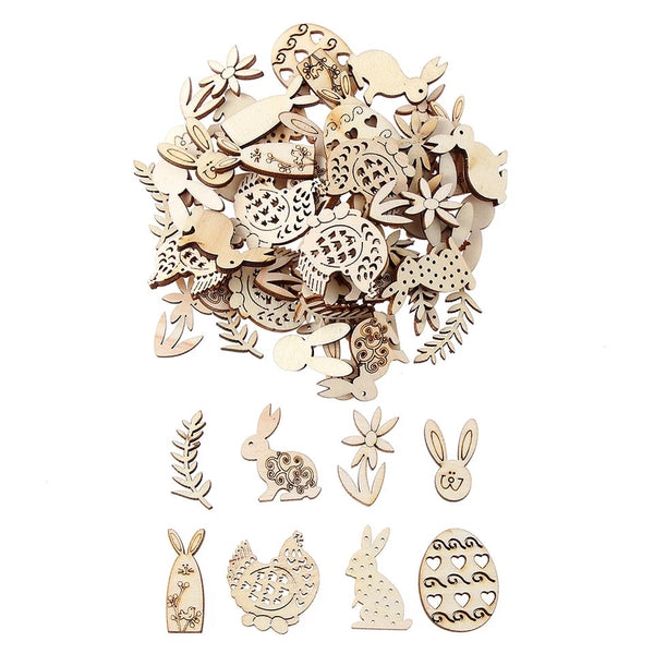 Laser Cut Unfinished Wooden Mini Easter Mix  x 50 pcs