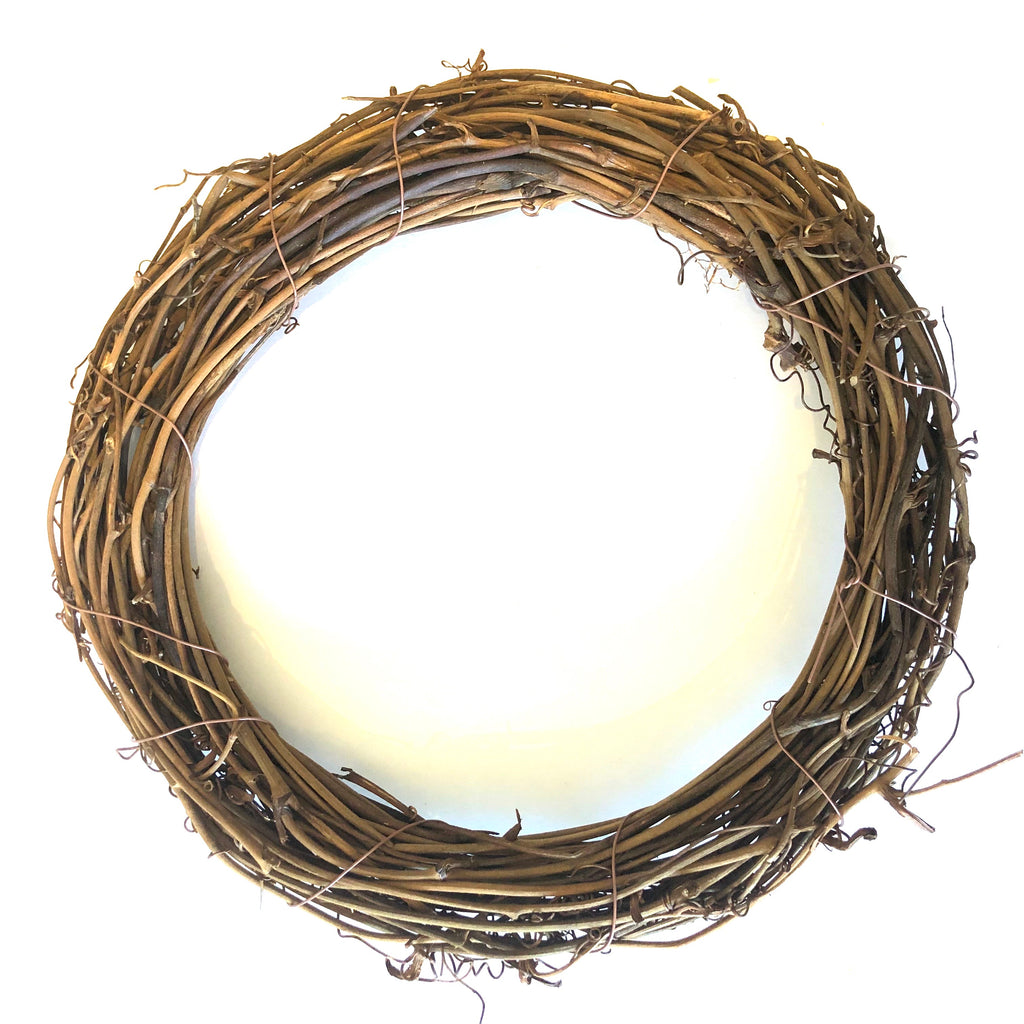 "Natural Thick Grapevine Christmas Wreath Hoop 8"" CIRCLE"
