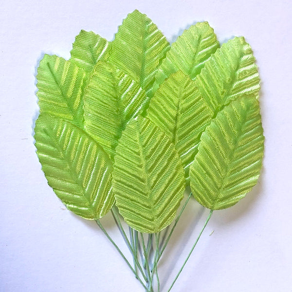 Artificial Satin Wired Leaves - Light Green