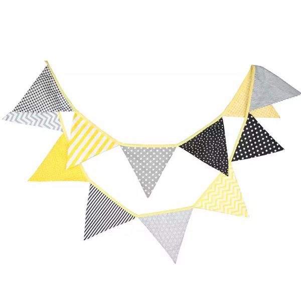 Wedding Tea Party Girly Vintage Rustic Cotton Bunting Garland - Yellow Black