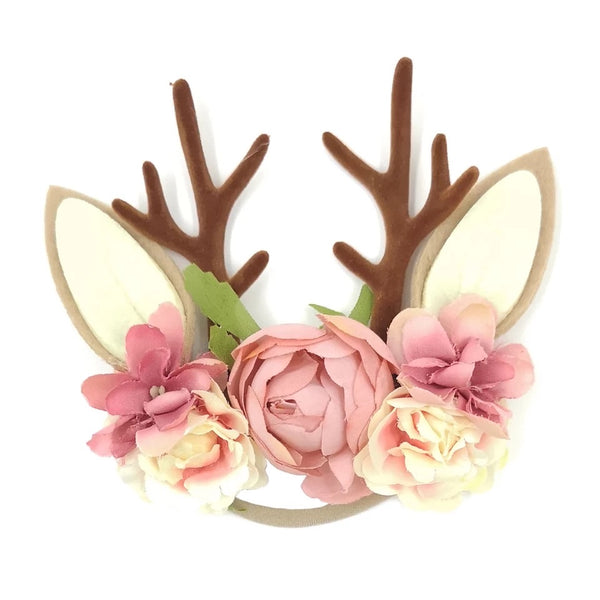 Christmas Holiday Antler Reindeer Floral Baby Girls Headband - Pink
