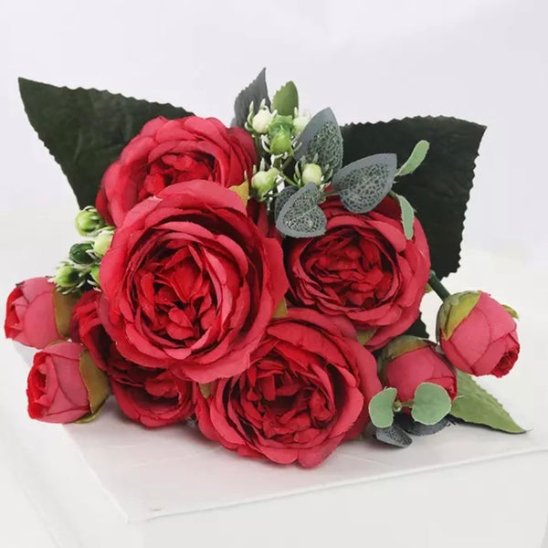 Artificial Silk Peony Blossom Mix Flower Bouquet Bunch - Red