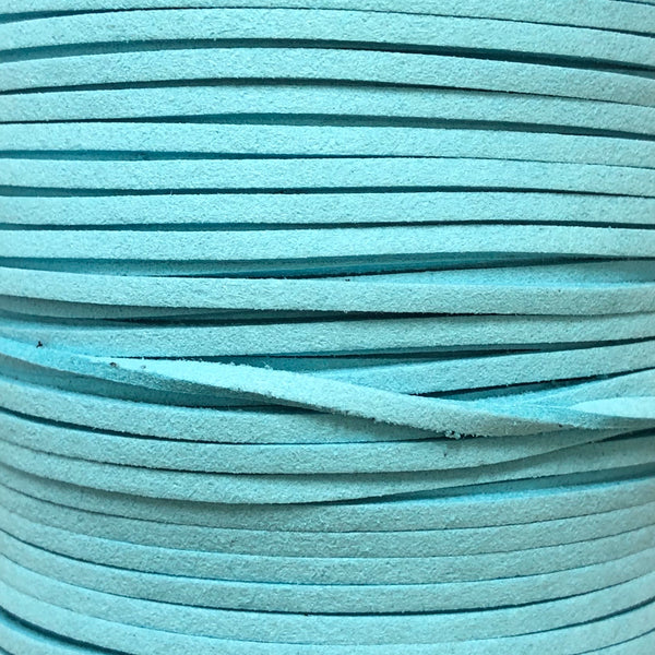 Light Blue Faux Suede Leather Cord per metre