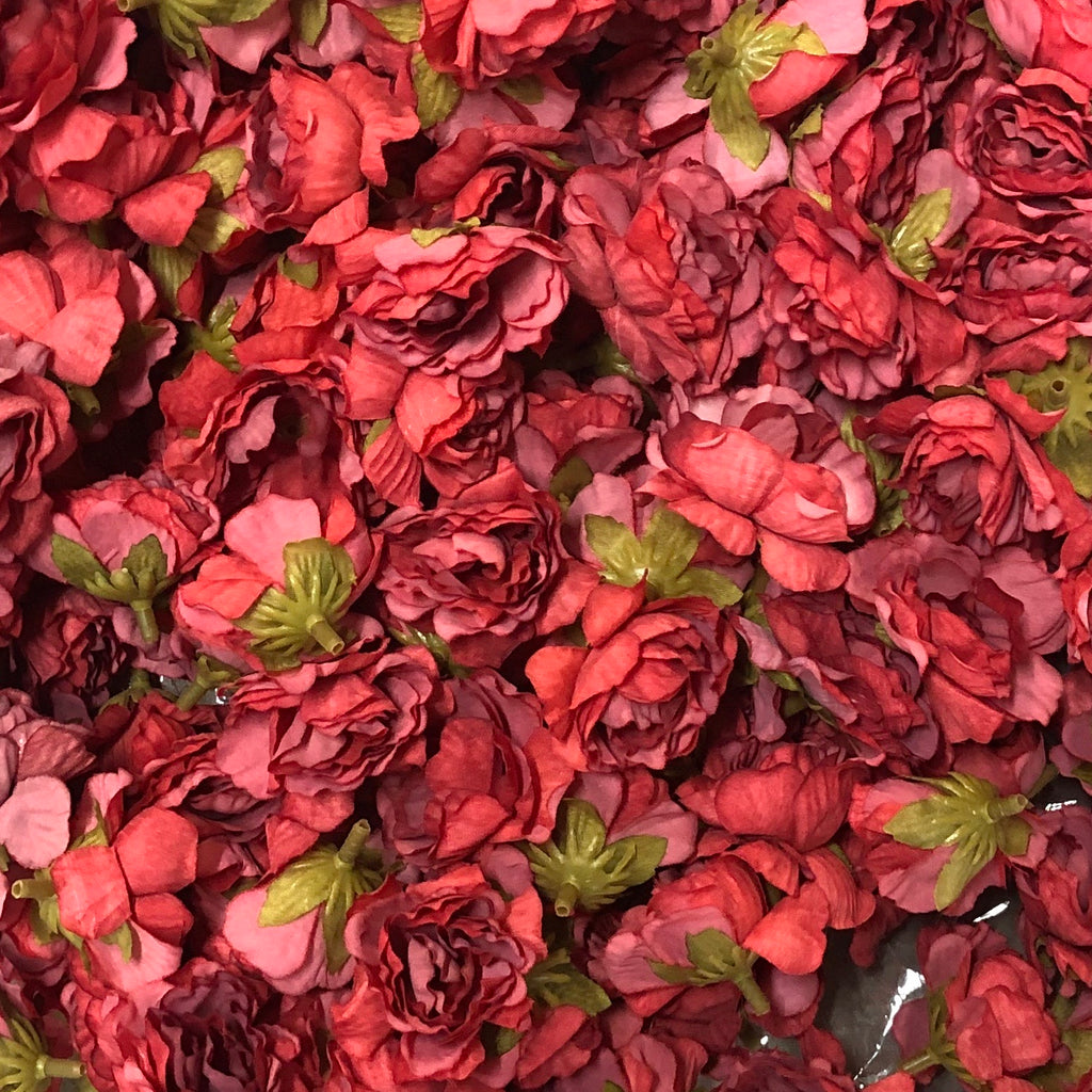 Artificial Silk  Flower Heads - Dusty Red Rose Style 62 - 5 Pack