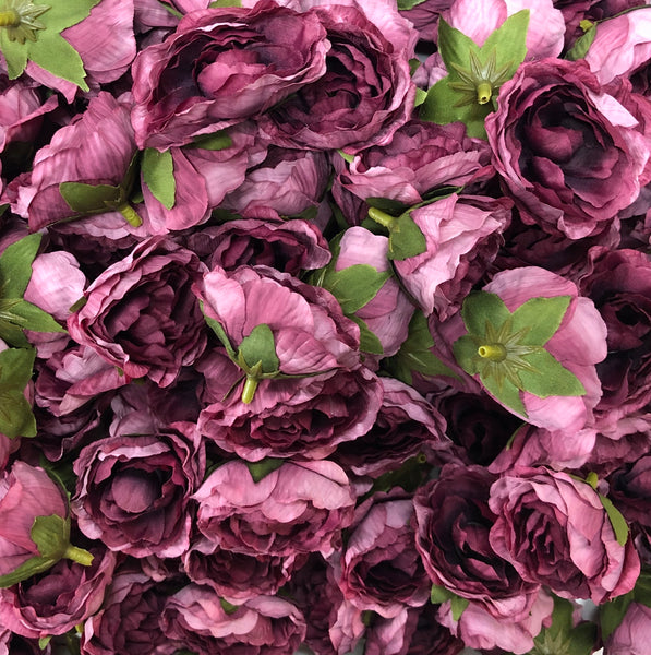 Artificial Silk Flower Heads - Vintage Plum Peony Style 78- 5 Pack