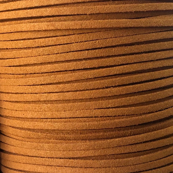 Golden Brown Faux Suede Leather Cord per metre