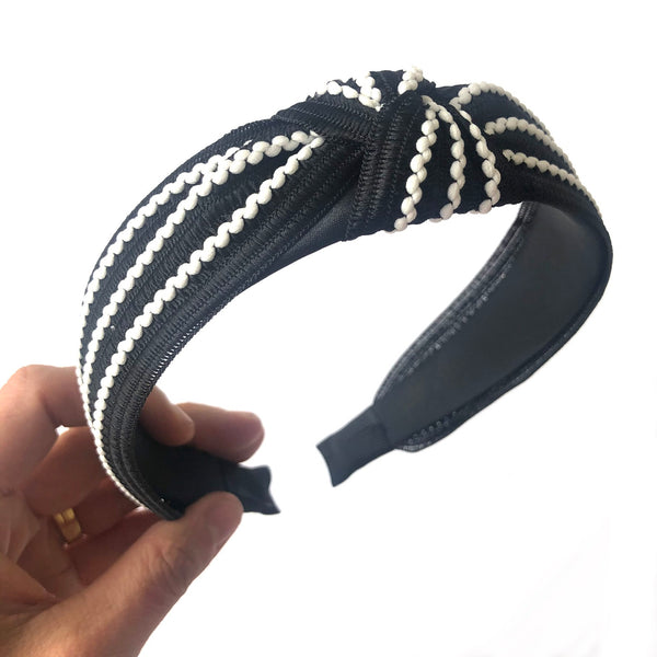 Fabric Wide Knot Ladies Women  Headband  - Style 6 Black
