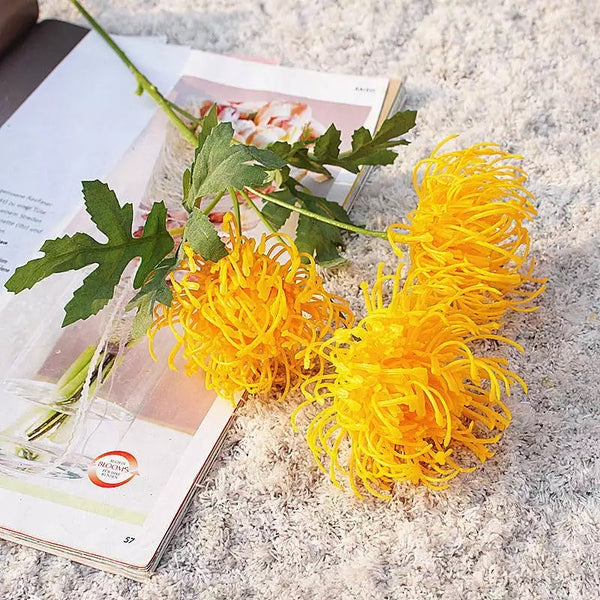 Artificial Australian Native Silk Protea Leucospermum Flower Spray - Golden Yellow (Style 6)