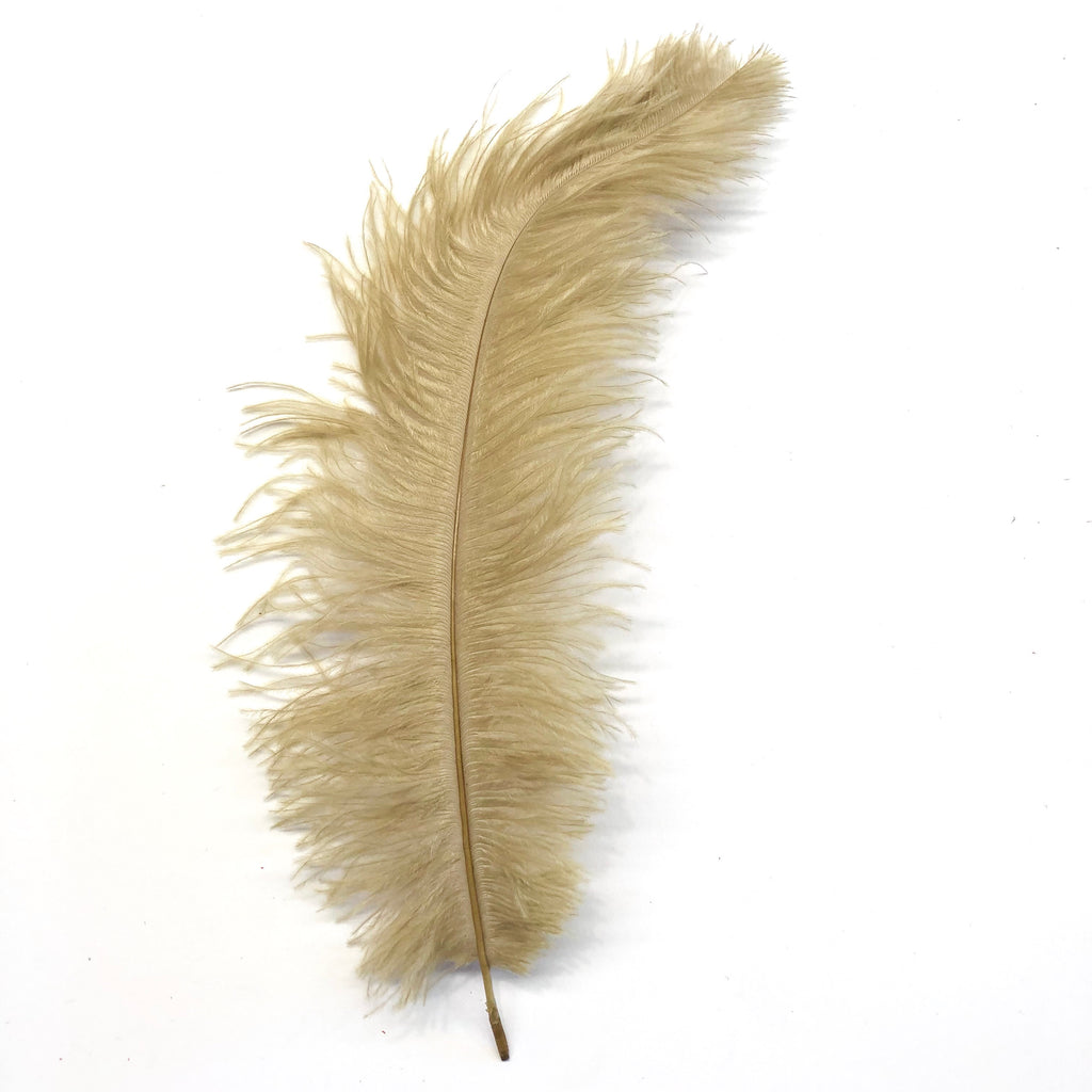 Ostrich Blondine Feather 25-40cm x 5 pcs - Gold ((SECONDS))