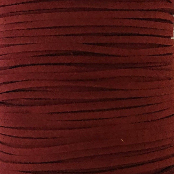 Wine Faux Suede Leather Cord per metre