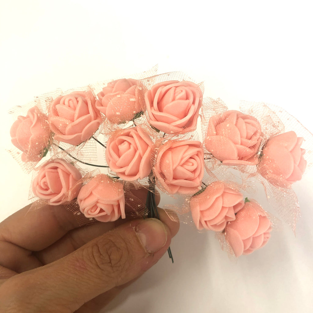Artificial Foam & Tulle Flower Pick Style 3 - Peach
