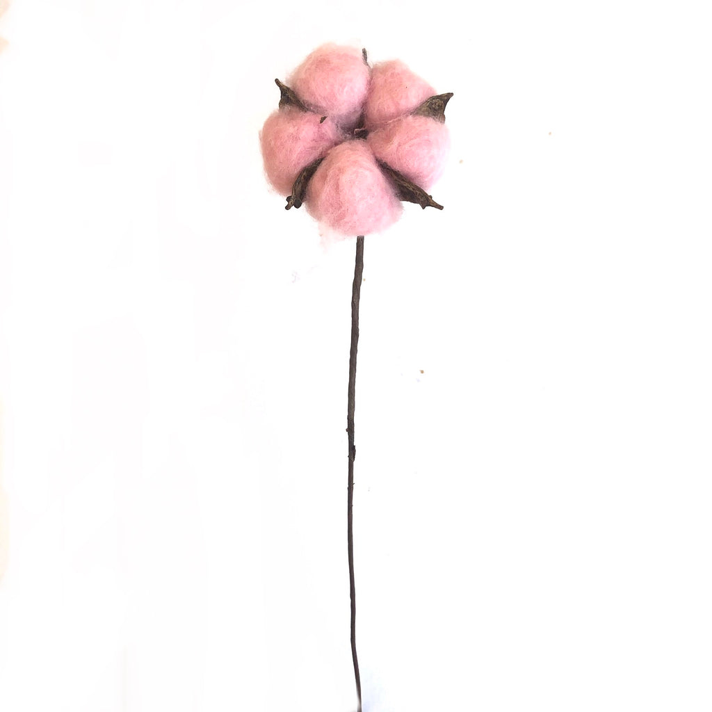 Artificial Natural Dried Cotton Flower Stem - Pink 60cm Long