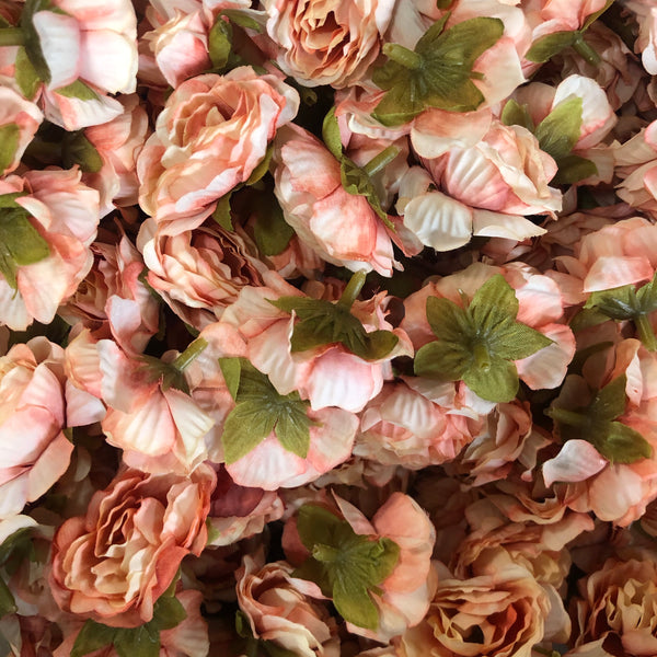 Artificial Silk Flower Heads - Vintage Apricot Rose Style 31  - 5 Pack