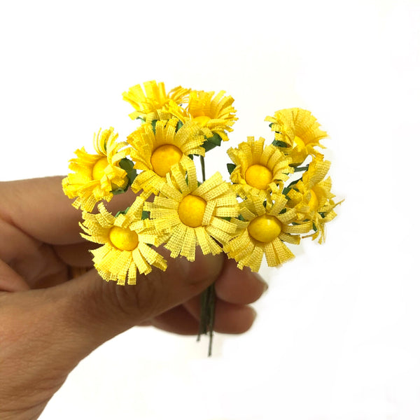 Artificial Silk Daisy Flower Pick Style 1 - Yellow