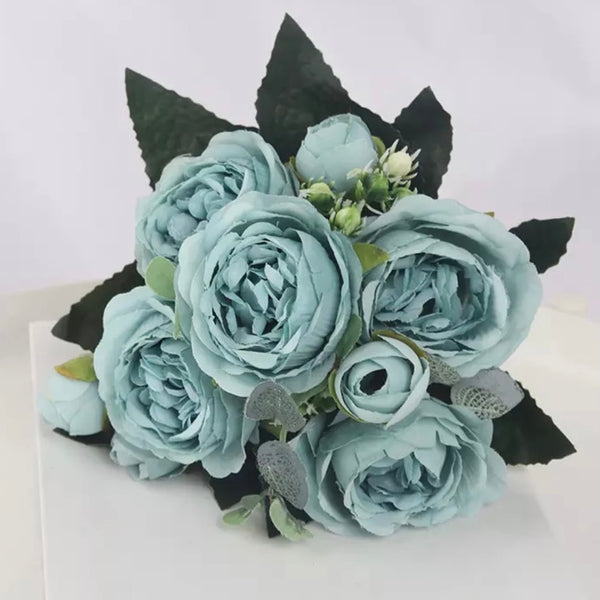 Artificial Silk Peony Blossom Mix Flower Bouquet Bunch - Blue