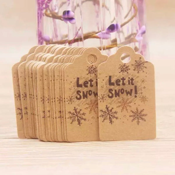 Merry Christmas Paper Gift Tags x 50 pcs - Let it Snow