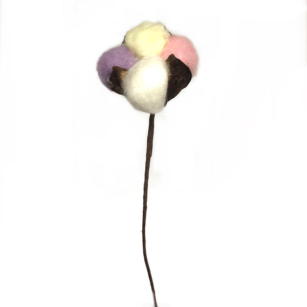 Artificial Natural Dried Cotton Flower Stem - Pastel Mix