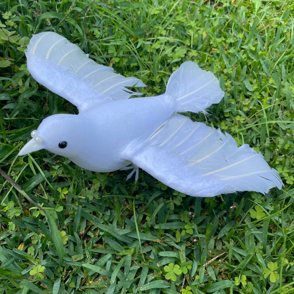 Artificial Lifelike White Pigeon Dove Wedding Foam Feather Bird - Open Wing