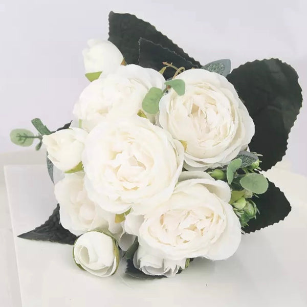 Artificial Silk Peony Blossom Mix Flower Bouquet Bunch - White