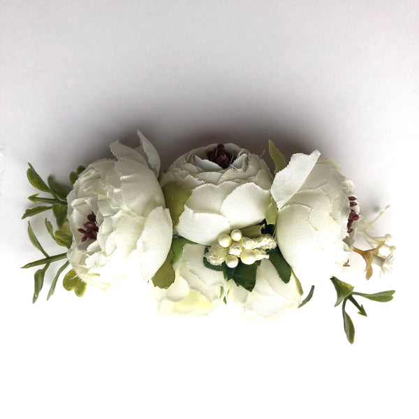 Sweet Floral Baby Girls Christening / Baptism Nylon Headband - White (Style 2)