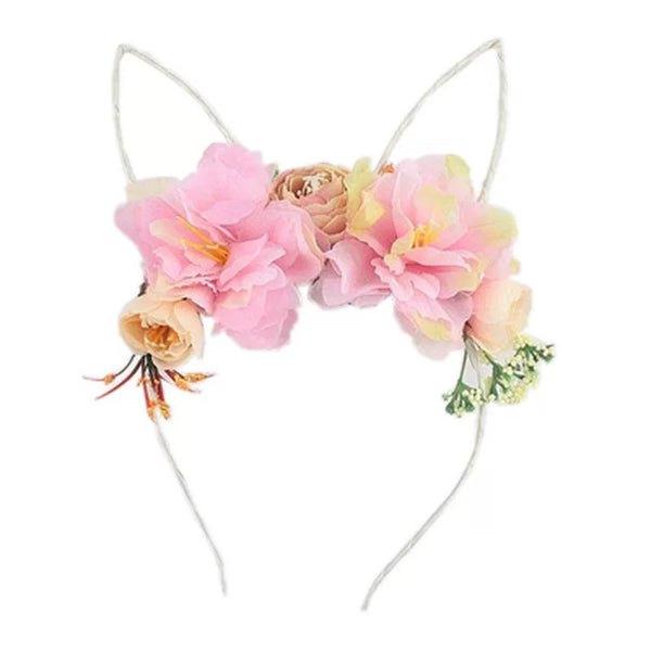 Easter Holiday Bunny Rabbit Floral Girls Headband - Pink (Style 4)