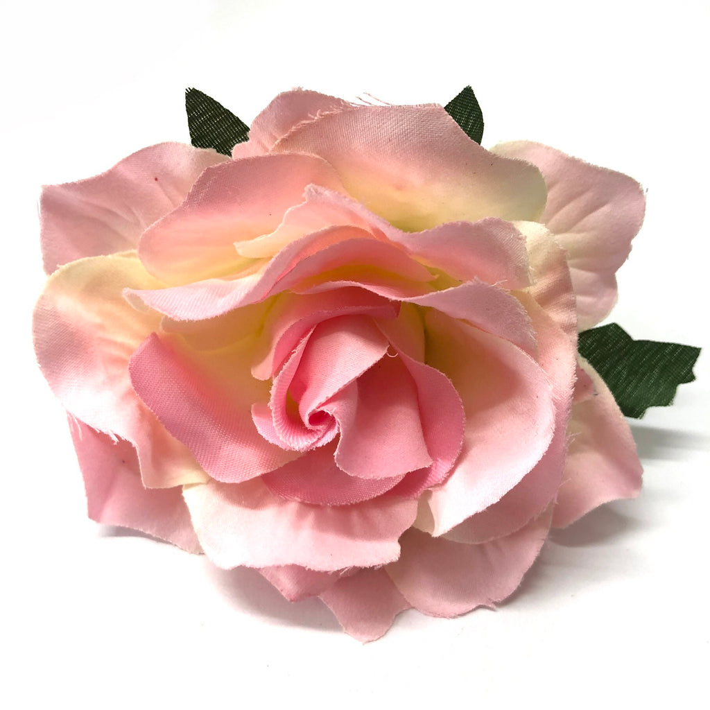 Artificial Silk Flower Head - Pink Rose Style 91 - 1pc