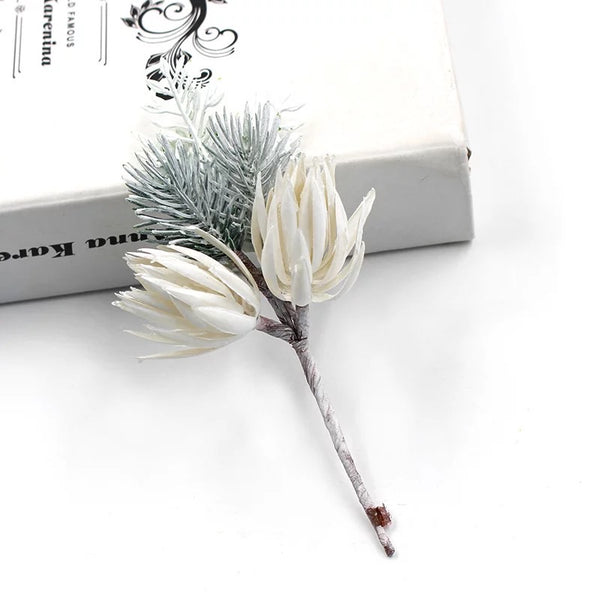 Artificial Christmas Flower & Pine Wired Pick