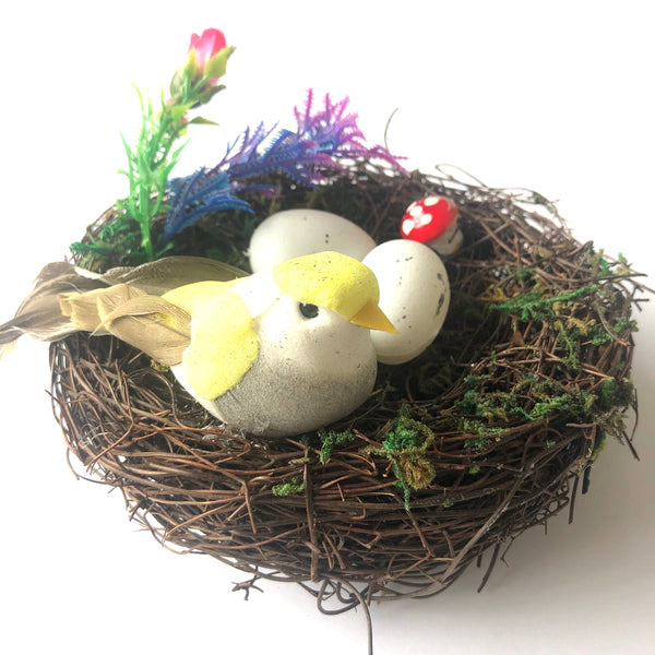 Natural Easter Premium Vine Bird Nest with Birds & Eggs - Assorted Colours (Style 2)