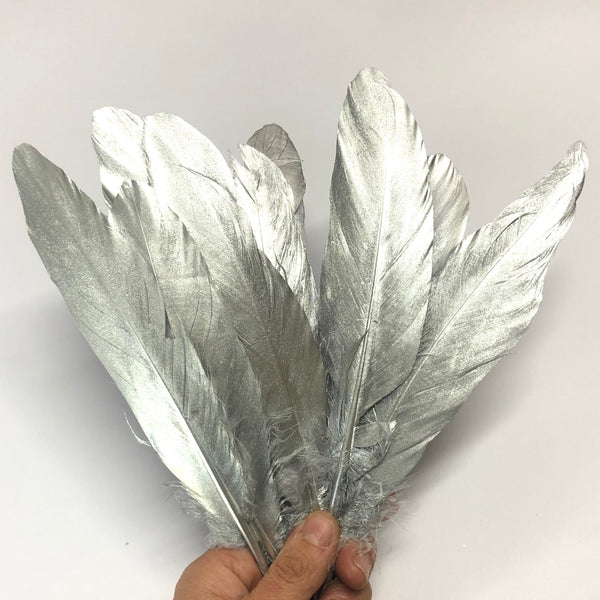 Goose Pointer Feather Solid Metallic Silver x 10 pcs