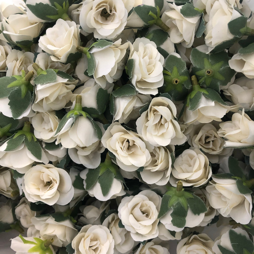 Artificial Silk Flower Heads - Off White Rose Style 34 - 5 Pack