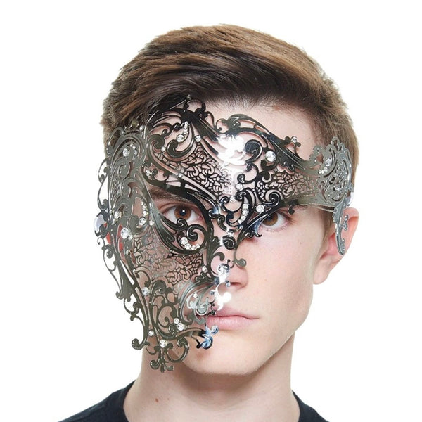 Half Face Phantom Laser Cut Venetian Man Masquerade Ball Party Mask - Silver (Style 2)