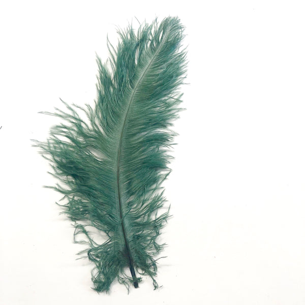 Ostrich Blondine Feather 25-40cm x 5 pcs - Vintage Green ((SECONDS))