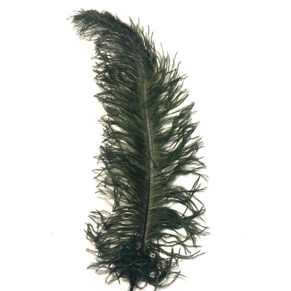 Ostrich Blondine Feather 25-40cm x 5 pcs - Dark Olive ((SECONDS))