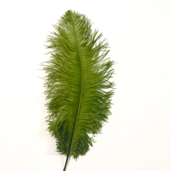 Ostrich Blondine Feather 25-40cm x 5 pcs - Olive Green ((SECONDS))