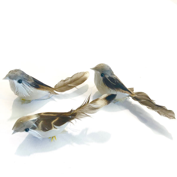 Artificial Realistic Decorative Natural Plastic Feather Birds x 12 pcs - (Style 1) BULK PACK