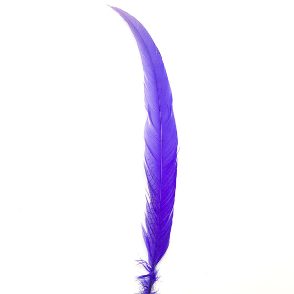 "6"" to 10"" Silver Pheasant Tail Feather - Purple ((SECONDS))"