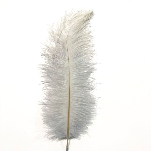 Ostrich Blondine Feather 25-40cm - Grey Silver