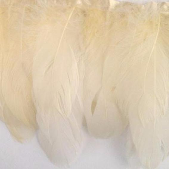 Goose Nagoire Feather Ribbon Strung per 10cm - Ivory