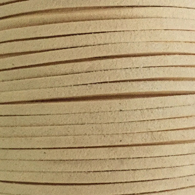 Ivory Faux Suede Leather Cord per metre