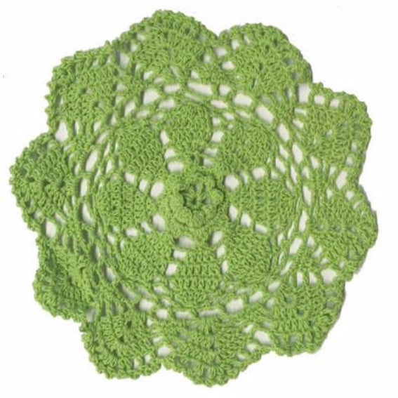 Crochet Cotton Round Doily 40cm - Lime Green